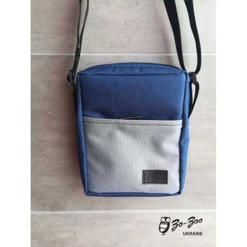 Сумка-мессенджер синяя с серым карманом