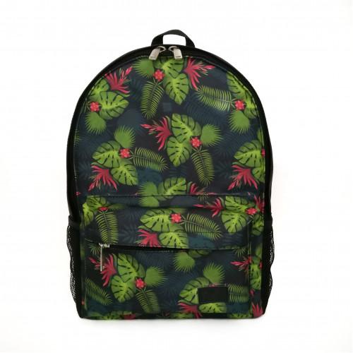 Городской рюкзак черный Тропики принтованный