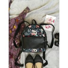 Рюкзак экокожа черный Цветы mini