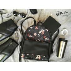 Рюкзак экокожа черный Цветы midi
