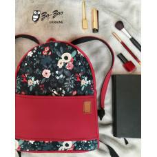 Рюкзак экокожа красный с декором цветы midi