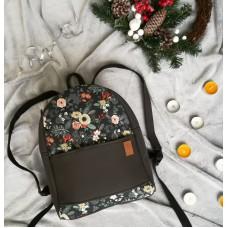 Рюкзак экокожа серый Цветы maxi