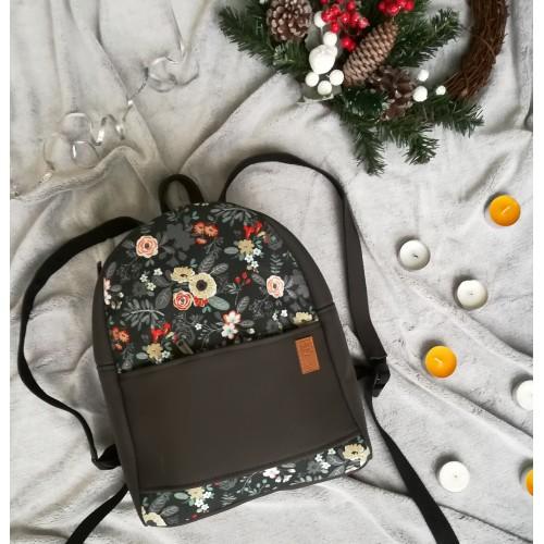 Рюкзак экокожа серый Цветы midi