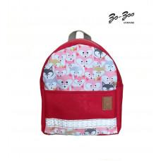 Детский рюкзак непромокаемый Лисы красный