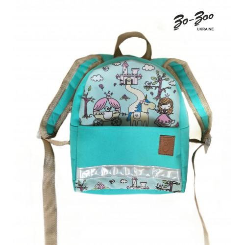 Детский рюкзак непромокаемый Принцессы бирюзовый