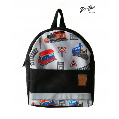 Детский рюкзак непромокаемый Поезда чёрный