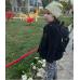 Детский рюкзак непромокаемый Цветы черный