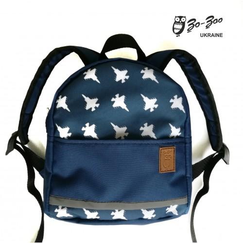 Детский рюкзак непромокаемый Самолёты синий