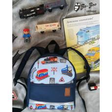 Детский рюкзак непромокаемый Поезда синий