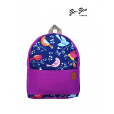Рюкзак непромокаемый средний Птицы фиолетовый